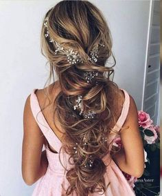 Extra Lon Hair Vine Bridal Headpiece Wedding Crystal Hair Vine Pearl Hair Jewelry Beaded Wreath Hair Halo Crystal Wreath Bohemian Bridal - Hair For Women İdeas Long Bridal Hair, Bridal Hair Vine, Romantic Bridal Hair, Bridal Updo, Wedding Hairstyles For Long Hair, Wedding Hair And Makeup, Hair Wedding, Bridal Hairstyles, Wedding Dresses