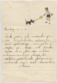 A letter from seven year old Anne Frank to her grandfather.