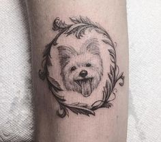 cute dog tattoo in a round frame