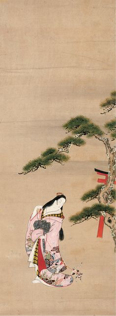 "The Third Princess (女三宮) with a Cat, from ""Wakana I"" (若菜上) chapter of Genji monogatari (源氏物語) - attributed to Matsuno Chikanobu (松野親信; fl. 1716–1735)"