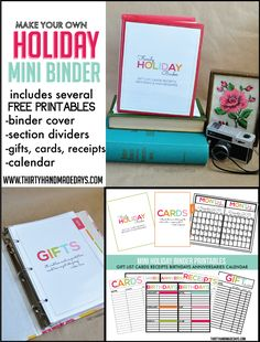 Make your own fabulous mini holiday binder - includes instructions and 14 printables to help you stay organized for the holidays! + links to other types of binders