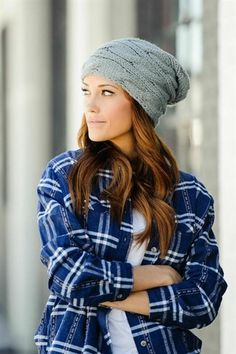 CABLE KNIT SLOUCHY BEANIE - GREY http://www.thetrendykitten.com/accessories/cable-knit-slouchy-beanie-grey