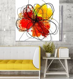 Floral Painting, Red Yellow Black Abstract Art, Colorful Contemporary Canvas Art Print up to by Irena Orlov Green Canvas Art, Flower Canvas Art, Canvas Art Prints, Art Floral, Art Mural Floral, Contemporary Abstract Art, Black Abstract, Oversized Canvas Art, Botanical Wall Art