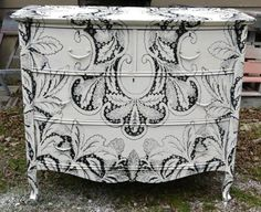 Great round up of decoupage and other creative ideas to update furniture! This is so Me, but I'd paint it instead of decoupage. Hand Painted Furniture, Funky Furniture, Repurposed Furniture, Furniture Projects, Furniture Making, Furniture Makeover, Diy Projects, Decoupage Furniture, Antique Furniture