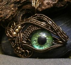 Gothic Steampunk Itty Bitty Evil Eye in Bronze Creepyness With Handpainted Green Glass Eye Wire Pendant, Wire Wrapped Pendant, Wire Wrapped Jewelry, Wire Crafts, Jewelry Crafts, Handmade Jewelry, Eye Jewelry, Jewellery, Dragon Jewelry