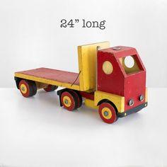 hand made truck vintage wooden truck antique truck by homeandhomme Wooden Toy Trucks, Wooden Car, Handmade Toys, Handmade Art, Etsy Handmade, Vintage Cafe Design, Vintage Kitchen Curtains, Christmas Tree Art, Wood Games