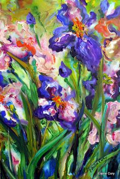 Iris III  is an original painting by me Elaine Cory. It is on a canvas 20 x 30 x 3/4. The sides are painted like the front. It is signed on the