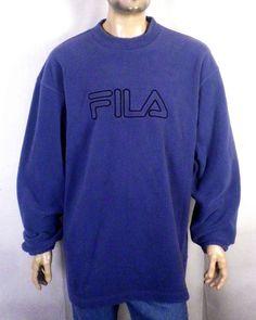 29e07840525c vtg 90s Fila Spell Out Logo Fleece Pullover Crew Sweatshirt Shirt gray blue  XXL Crew