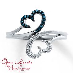 Open Hearts Ring 1/6 ct tw Diamonds Sterling Silver