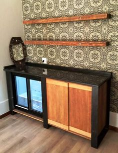 Installed kitchen unit with wooden storage shelves above Wooden Storage Shelves, Kitchen Units, The Unit, Canning, Cabinet, How To Make, Furniture, Home Decor, Clothes Stand