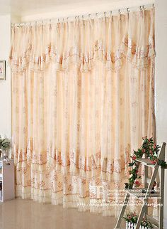 Victorian Rose Floral Curtain Set/Attached Valance/Sheer Voile/ Customer  Made A