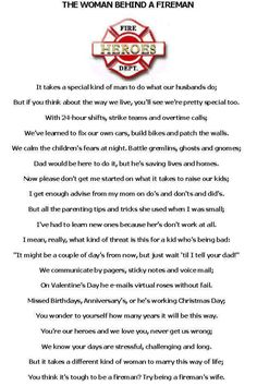 All so true fire life and fire wife! You will never understand no matter how hard you try till your a firefighters wife.