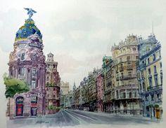 Gran Via de Madrid. Acuarela de J.Velasco Vázquez. 50 × 60 cms. Año 2015. Velasco, Madrid, Pretty Pictures, Four Square, Big Ben, Beautiful Homes, Taj Mahal, Spain, Building