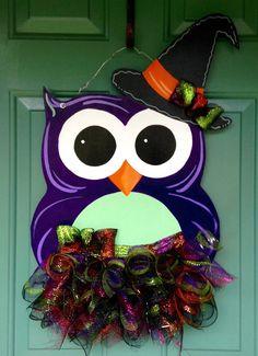 Halloween Owl Door Hanger Halloween Door by MyBelovedReclaimed