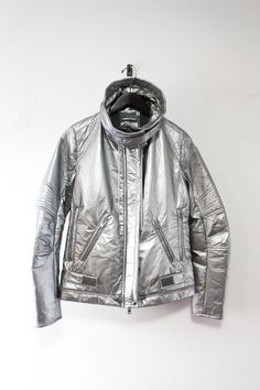 Vintage Helmut Lang Astro Moto Jacket A w 1999 Metallic Silver Unisex Italy 42 Moto Jacket, Motorcycle Jacket, Rain Jacket, Leather Jacket, Biker, Bike Wear, Helmut Lang, Jackets For Women, Women's Jackets