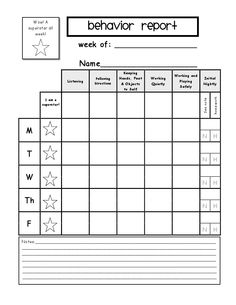 Free Behavior Incentive ChartPrint And Go Each Student Should