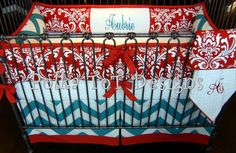 Red & Turquoise Baby bedding...LOVE IT!