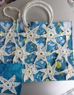 Borsa mare con borsello, in tessuto turchese, decorata in rafia bianca : Altre borse di la-libe