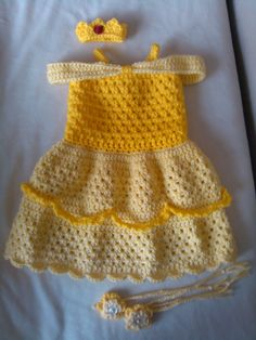 Copy of Crochet Baby Belle Beauty and the Beast Infant Newborn Baby Dress Beanie Hat Shoes Rose Set Handmade Photography Photo Prop Baby Shower Gift P Baby Girl Crochet, Crochet Baby Clothes, Crochet For Kids, Crochet Baby Outfits, Crochet Princess, Crochet Dresses, Crochet Dress Girl, Simple Crochet, Crochet Crafts
