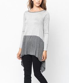 Look what I found on #zulily! Heather Gray & Charcoal Color Block Sidetail Tunic #zulilyfinds