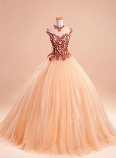 champagne tulle ball gown long prom dress, evening dress for teens