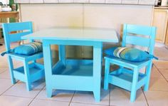 Square Top Storage Table & Chairs | Do It Yourself Home Projects from Ana White