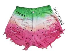 ITEM DESCRIPTION:These high waisted hipster shorts are definitely one of a kind! They are watermelon inspired dyed with pink and green. Painted