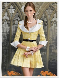 Morpheus Boutique - Yellow White Plaid 3/4 Sleeve Pleated Dress