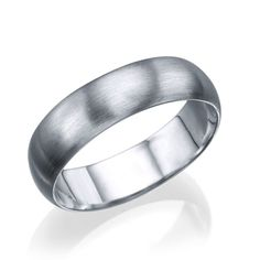 White Gold Men's Wedding Ring - 5.6mm Rounded Brushed Matte Band