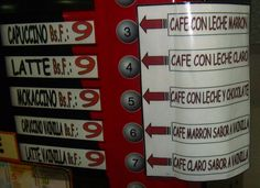Traducción vista en la máquina automática de expender café de una clinica de la localidad de San Cristóbal, estado Táchira, Venezuela