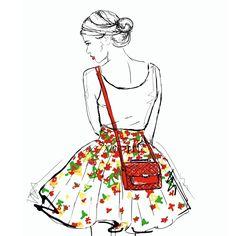 Fashion illustration by Dasha Belova, skater skirt, flowers, red bag, girl, white, red lips