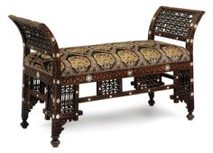 A Syrian Mother-of-Pearl and bone inlaid hardwood bench, first half century. Carved overall and divided by panels of mashrabiya, the upholstered seat covered in Robert Kime Ltd. Victorian Furniture, Antique Furniture, Oriental Furniture, Classic Furniture, Cool Chairs, Victorian Homes, Decoration, Hardwood, Furniture Design