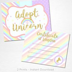 Adopt a Unicorn Certificate Unicorn Rainbow Birthday Party Printable Sign YOU Print Pastel Pink Gold This is an example of what we can do, if you want to tweak these files or change the colors please let us know before purchase. What you are buying is an instant download file. Nothing will be shipped to you. You will receive two files: Adopt a Unicorn 8x10 Adoption Certificate 8.5x11.5 (letter size) Please let us know if you have any questions, were happy to help