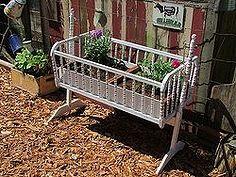 baby cradle garden bed, flowers, gardening, repurposing upcycling, Baby cradle flower garden bed