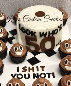 Toilet Paper Cake With Emoji Poop Cupcakes Jennifer Traylor 50th Birthday