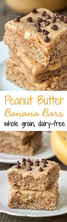 These peanut butter banana bars are like a cross between a blondie and a cake bar! They're also made a little healthier and are 100% whole grain and dairy-free.
