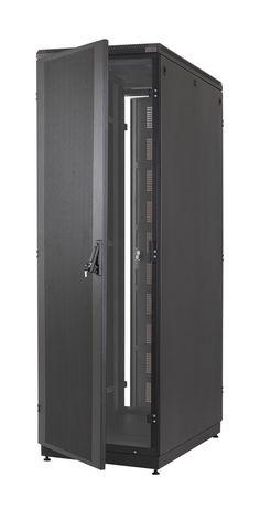 """ABBA Closed rack 19"""" 42U depth 1150mm Perforated Door and Black Metal Door, C42-11150-PG, Rack Closed, 19"""" 42U, Depth 1150mm, Perforated Door"""