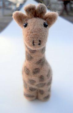 Giraffe Miniature  Needle Felted Animal  Soft by ThePineappleCatz