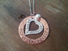 copper & silver hand stamped necklace
