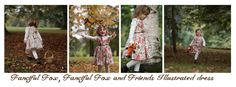 'Fanciful Fox and Friends' illustrated dress available in age 1-5 price £42.00 find us on facebook via this link https://www.facebook.com/fancifulfoxs Photography by Jo Blackwell joblackwellphotography.co.uk