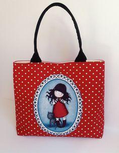 Gorjuss Bag Handmade Shoulder Tote Bag by MyCottonHouse on Etsy Sacs Tote Bags, Reusable Tote Bags, Santoro London, Handmade Handbags, Lalaloopsy, Patchwork Bags, Fabric Bags, Little Bag, Cute Bags