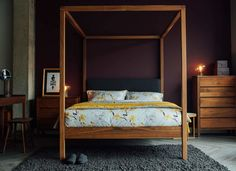 walnut-highland 4 poster bed from Natural Bed Company - handmade in Sheffield.