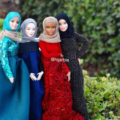 Meet Hijarbie, The Mini Hijab-Wearing Fashionista | 24-year-old Haneefah Adam of Nigeria, wasn't seeing any Barbies dressed in the same way she did — wearing modest clothing that covers the body. So she started an Instagram  account, called Hijarbie where she showcases Barbie in a variety of hand-sewn modest outfits and hijabs.