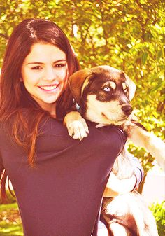 Selena Gomez and one of her dogs Baylor.