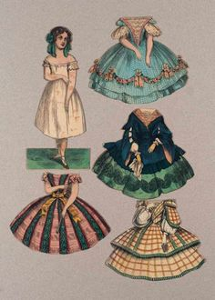 Wec Paper Doll Vintage Dolls Victorian Panels Dresses Retro Clothing Patterns J