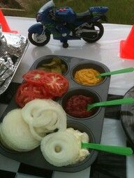 Using muffin tins for condiments at a party/bbq. What a good idea!