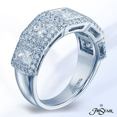 JB Star Stunning platinum diamond wedding band handcrafted with five perfectly matched bezel-set princess-cut diamonds and each encircled by micro pave.