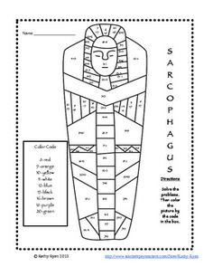Addition and Subtraction Color by Number Ancient Egypt