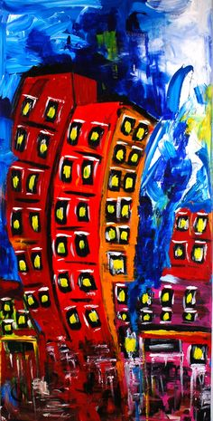 """""""Rooms For Rent""""...acrylic on canvas...60"""" x 30"""" x 3""""...©Mac Worthington, artist, 2014 For further information on this piece or to discuss a custom design please call 614 