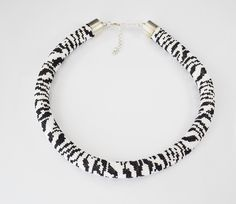 Free Shipping ! Jewelry, Necklaces, Beadwork, Necklace, bead crochet rope - zebra necklace, gift for her - pinned by pin4etsy.com